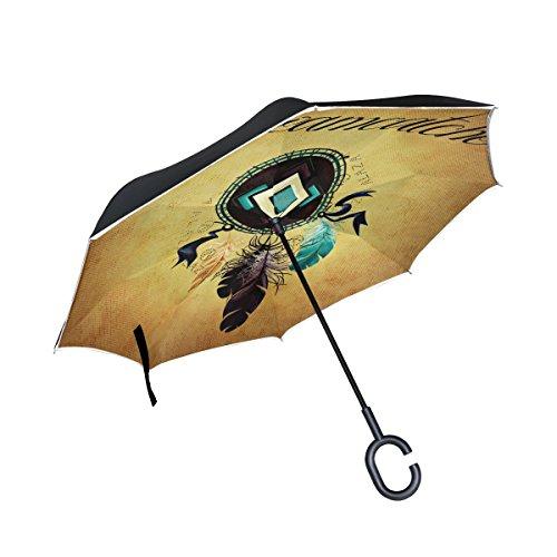 BENNIGIRY Atrapasueños Doble Capa Inversionado Paraguas Reverso Plegable Paraguas Resistente al Viento UV Protección Gran Recta Paraguas Coche Lluvia Exterior Mango en Forma de C