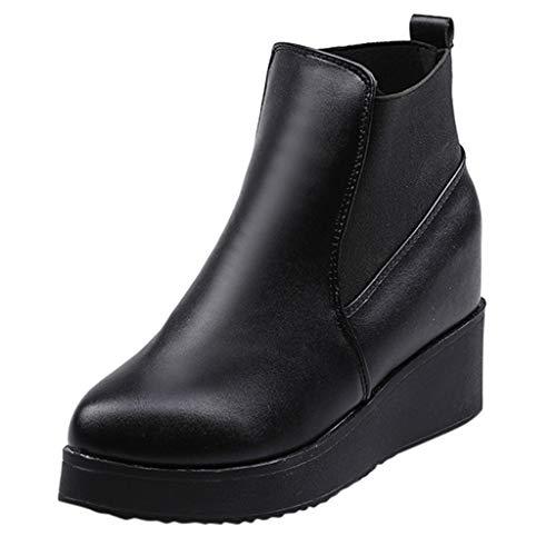 Strungten Chelsea Boots Damen Kurzschaft Stiefel Warm Gefüttert Ankle Stiefeletten rutschfeste Worker Boots Wasserdichtes Leder Plattform Keil Bootie Sneaker Knöchel Regen Boot Absätzen Single Boots -