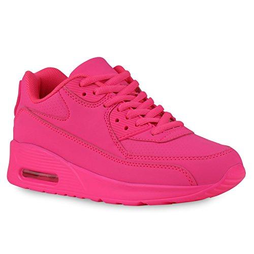 Trendige Unisex Damen Herren Kinder Laufschuhe Schnür Sneaker Sport Fitness Turnschuhe Pink