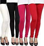 Aniefashion Women's Cotton Lycra Stretchable Skinny Fit Leggings Combo Offer for Women_Free Size - Pack of 4 Leggings…