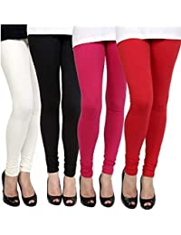 Aniefashion Women's Cotton Lycra Strechable Skinny Fit Leggings Combo Offer for Women_Free Size (Pack of 4) (White, Black, Pink & Red) (Free Size)