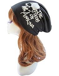 Tongshi Manera de las mujeres de los hombres de dibujos animados de impresión Hip Hop Beanie sombrero holgado unisex del cráneo del casquillo de esquí (Negro)