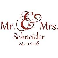 Autoaufkleber Hochzeit - Mr. & Mrs. & Nachname