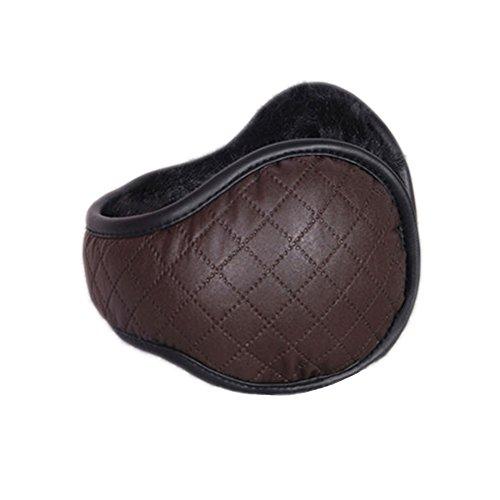 CHINACME Unisexe Cache-oreilles Pliable En Faux Cuir + Fourrure De Lapin Faux Accessoires d'Hiver Extérieur Réchauffeur d'Oreille PU BRUN