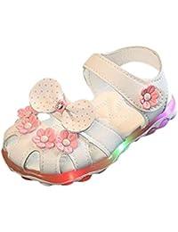 Culater? Bambino Nuovi girasole ragazze sandali illuminato suola morbida principessa Shoes (19, bianca)