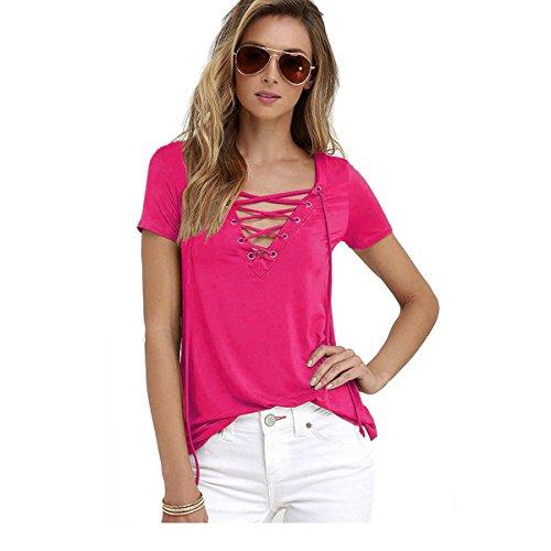 Butterme Damen Frauen reizvolle Beiläufige V-Ansatz Kurze Hülse Schnüren Sich Oben Verband T-Shirt Blusen Oberseiten T-Stücke Heißes Rosa