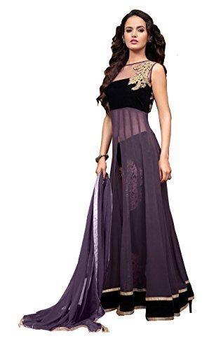 Sanjana Design Women\'s Stylist Western Purple Gown Unstitch Anarkali Suit (SD2994_Free Size_Purple)