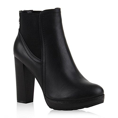 Damen Ankle Boots Plateau Stiefeletten Zipper Holzoptikabsatz Schuhe 111135 Schwarz 36 Flandell