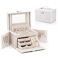 Vlando Mirrored Jewellery Organisers Box for Girls Women Vintage Gift Case - Faux Leather