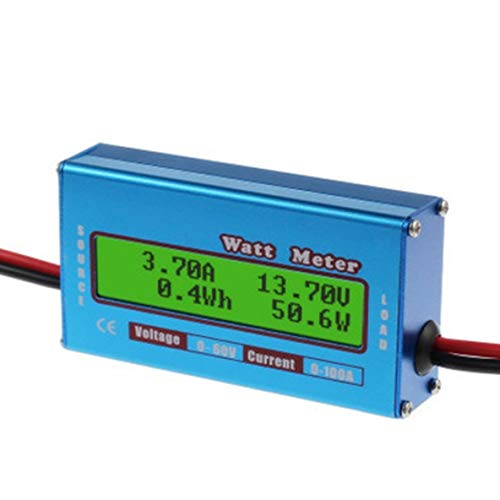 Noradtjcca Digitaler Monitor LCD Wattmeter 60 V / 100 A DC Amperemeter Hohe Genauigkeit RC Batterie Amp Analyzer Tool Leistung Energie Wattmeter Peak Amp Batterie
