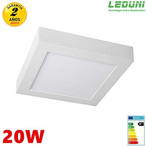 LEDUNI ® Downlight Plafón Superficie LED Cuadrado 20W 1640LM Color Blanco Neutro 4000K Angulo 120...