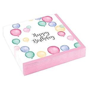 amscan 9903863 Happy Birthday - Servilletas (20 Unidades), Color Pastel
