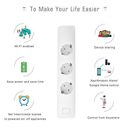 EXTSUD Smart Steckdosenleiste Intelligente WLAN Mehrfachsteckdose mit Überspannungsschutz Wifi Steckdosen mit 3 Intelligenten AC-Ausgänge und 2 USB-Anschlüsse Kompatibel mit Amazon Alexa,Google Home