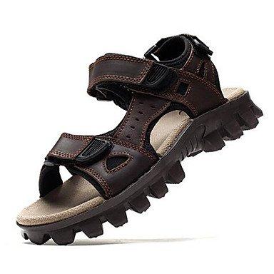 Uomini sandali estivi Casual in pelle tacco piatto altri grigio marrone altri Brown
