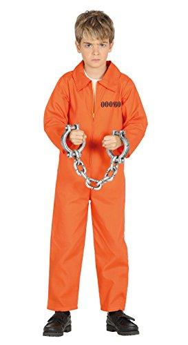 Guirca Sträfling Kostüm für Kinder Jungen Overall Gefängnis Gefangener Halloween Knasti Gr. 98-146, Größe:140/146 (Halloween Overall Orange)