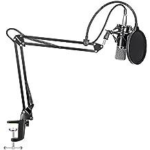 Neewer NW-700- Micrófono de condensador para grabación de radiodifusión profesional y soporte de brazo en tijera para micrófono en suspensión ajustable NW-35 con montaje flotante y abrazadera de montaje