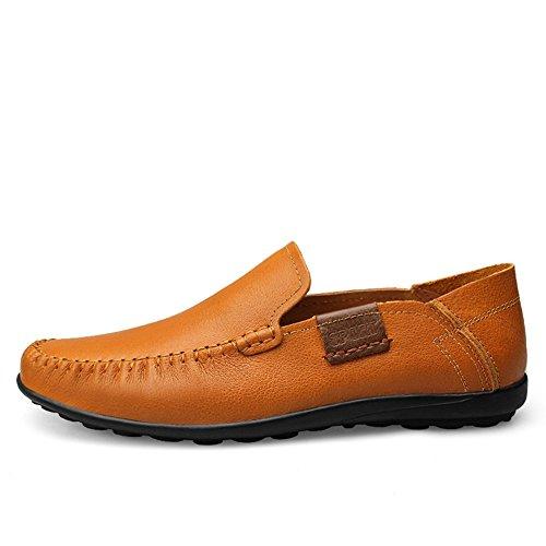 Shenn Homme Conduire Une Voiture Glisser Sur Confort Cuir Mocassins Chaussures Marron