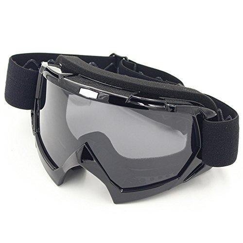 Motorradbrillen,Spohife Motocross Dirtbike Fahrrad Off-Road Schutzbrille Motorrad Goggles Crossbrille Sportbrille Wind Staubschutz Fliegerbrille Snowboardbrille Brille, Winddicht Staubdicht (Full Black Frame,Grey Lens)