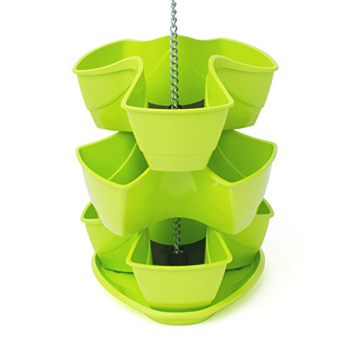 Galleria fotografica Vaso per piante erbe aromatiche COUBI 3 livelli a forma di trifoglio colore: lime