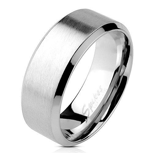 Bungsa® 62 (19.7) Edelstahl Ring mit schrägem Rand Silber gebürstet Schmuckringe für Damen und Herren Verlobungsringe (Ring Fingerring Partnerringe Verlobungsringe Trauringe Damenring Chirurgenstahl)
