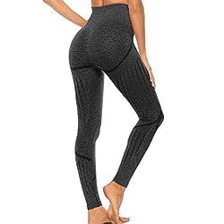 FITTOO Leggings Sin Costuras Mujer de Alta Cintura Yoga Elásticos y Compresivo Fitness Negro-2 Medium
