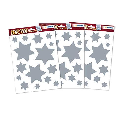 HERMA 15547 Weihnachten Fensterbilder Sterne Silber Set, selbstklebende Fensterdeko Aufkleber, 45 große Weihnachtssticker für Dekoration