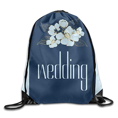HIDFAA Bolso Lazo Wedding Blue Flower. Cute Gym Drawstring