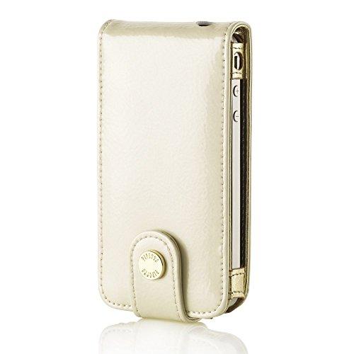PIPETTO Luxury Patent Flip Case für iPhone 4 / 4S White Pearl Pearl Flip Case