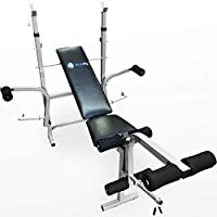 BodyRip Exercise Equipment Workout Adjustable Weight Bench with Sturdy Heavy Duty Home Gym Adjustable Bar Racks and Foam Grip Leg Roller Extension | Fitness, Lifting, Sit Up, Ripped, Bench/Chest Press