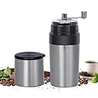 Portable Manual Coffee Maker, Adjustable Coffee Beans Grinder, Hand Crank Coffee Machine, Reusable Filter, Coffee Cup, All-in-One For Travel Camping Office Silver