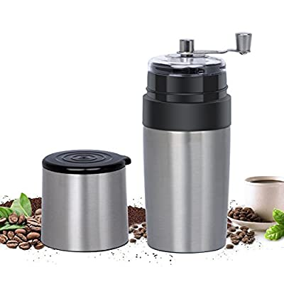 Portable Manual Coffee Grinder, Adjustable Hand Crank All-in-One Coffee Maker Machine with Reusable Filter and Cup for Travel Camping Office (Silver) by Kimfly