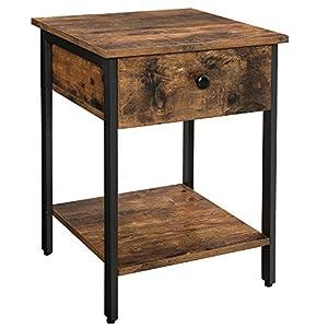 VASAGLE Nachttisch, Nachtkommode, Beistelltisch mit Schublade und Ablage, Nachtschrank, Schlafzimmer, Wohnzimmer, einfacher Aufbau, Metall, Industrie-Design, Vintage, Dunkelbraun LET55BX