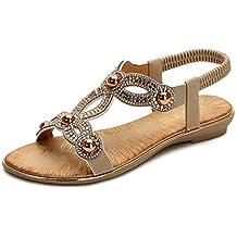 ee4fad03126 ESAILQ -Zapatos De Playa Mujer Deslizadores Planos para Sandalias Diamante  Deslizadores Brillantes Zapatillas Coloridas con
