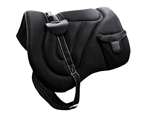 AMKA Bareback Pad Reitpad Alamiee mit Zwei Taschen und Sattelgurt, weich und komfortabel, schwarz