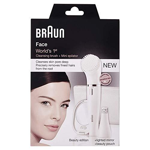 Braun Face Gesichtsepilierer und Gesichtsreinigungsbürste 831, mit Spiegel und Kulturbeutel, Batteriebetrieb, weiß