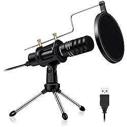 ELEGIANT Microphone USB Micro PC Professionnel Microphone à Condensateur Studio Podcasting Enregistrement avec Support de Trépied de Bureau pour Ordinateur Mac Portable Skype Youtube Jeux Vidéo etc.