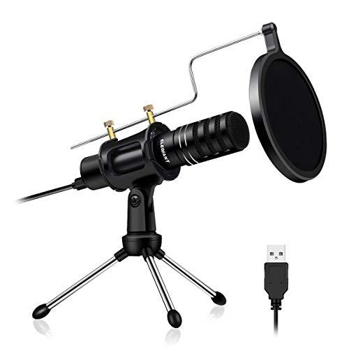 ELEGIANT USB PC Mikrofon Computer Kondensator Mikrofon Integrierte Soundkarte DSP Kopfhörer-Monitor Microphone für PS4, Podcast, Studio, Skype, YouTube mit Ständer und Popschutz 2019