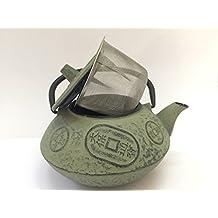 Tetera de hierro colado con filtro japonesa - capacidad 0.8 litros y color crema - teteras para vitroceramica, inducción y gas - tetera de metal grande para infusión y té