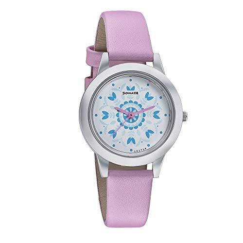 Sonata Floral Folk Art Analog White Dial Women's Watch-87019SL10