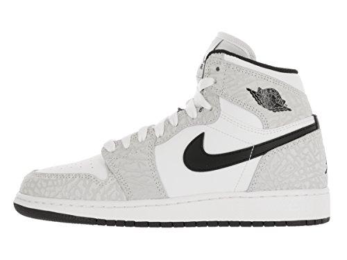Nike Jungen Air Jordan 1 Retro Hi Prem Bg Basketballschuhe Weiß / Schwarz / Silber (Weiß / Schwarz-Pure Platinum)