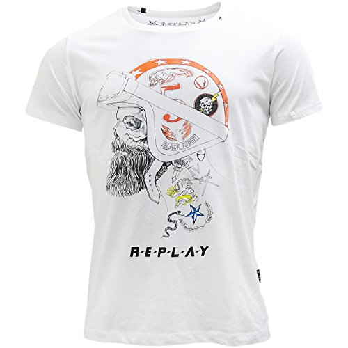 Replay -  T-shirt - T-shirt  - Basic - Maniche corte  - Uomo White Large