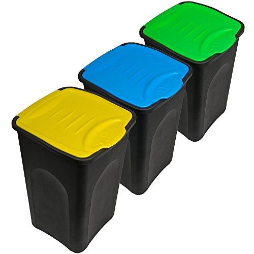 *Stefanplast® 3x 50L Set Abfalleimer mit Klappeckel 56 x 37 x 39cm – Mülleimer Papierkorb Abfallbehälter Restmüll Müllbehälter Abfallsammler Mülltrennsystem*