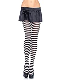 Leg Avenue Plus Size White Striped Tights