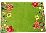 Eulberg Kinderteppich Blumenwiese grün Velours 140 x 200cm 1. Wahl