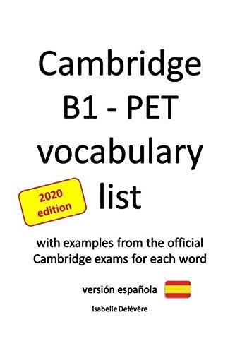 Cambridge B1 - PET vocabulary list versión española