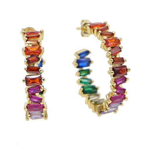 Regenbogen unregelmäßige Baguette ZirkoniaHoop Ohrring Gold Farbe Luxus wunderschöne Frauen Modeschmuck