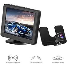 AUTO-VOX 8,89 cm monitor LCD posteriore a 2,4 G wireless impermeabile Colore Targa telecamera per la retromarcia con 170 gradi di angolo di larghezza - Auto Per Bambini View Mirror