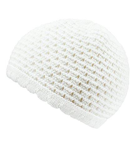Babymützchen Taufmütze Häkelmütze Topfmütze Jungenmütze Erstlingsmütze Ajourmuster für Jungen (PT-20259-S16-BJ3-1-40/43) in Weiß, Größe 40/43 inkl. EveryKid-Fashionguide (Haube Gehäkelte Weiße)