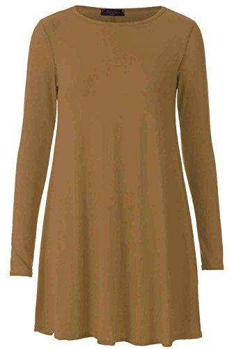 Nuovo da donna tinta unita A maniche lunghe elasticizzato lük Skater A punta Swing vestito Top 8-22 Caffè