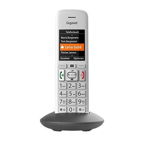 Gigaset E370HX Universal-Mobilteil - Schnurloses IP-Telefon (zum Anschluss an Fritzbox oder Cat-iq Router - sichere Bedienung dank großer Tasten, SOS-Funktion und großem Farbdisplay) silber-grau